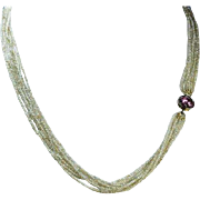 Antique Georgian Natural Pearl and Topaz Necklace