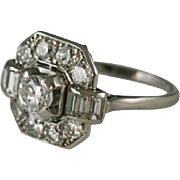 Elegant French Diamond Platinum Ring