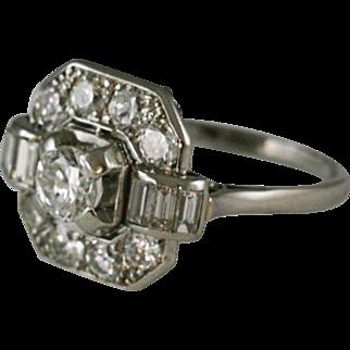 Elegant French Diamond Platinum Ring