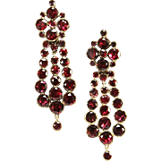Grand Georgian Garnet Gold Earrings