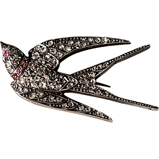 Enchanting Antique French Diamond Trembler Bird Pin