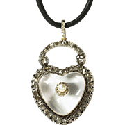 Extraordinary Antique Diamond Rock Crystal Heart Pendant