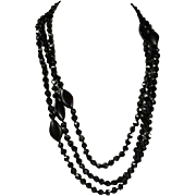 Long Antique French Jet Bead Necklace