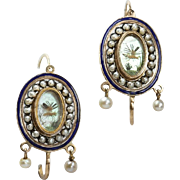 Antique Georgian 15 karat Gold Enamel Pearl Earrings