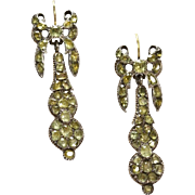 Antique Chrysoberyl Long Earrings 18th Century