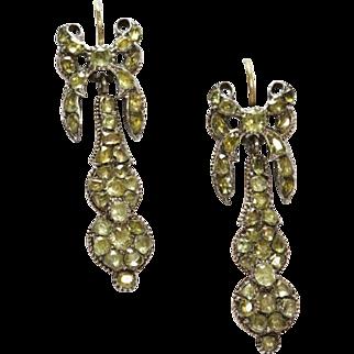 Antique Chrysoberyl Long Earrings 18th Century