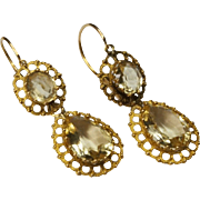 Antique French Lemon Citrine 18 Karat Gold Earrings