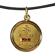 Wonderful Antique French 18 Karat Gold Love Pendant