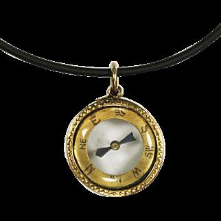 Antique Victorian 15 Karat Gold Transparent Compass