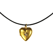 Antique Victorian 15 Karat Gold Diamond Heart Locket
