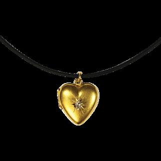 Antique Victorian 15 Karat Gold Diamond Heart Locket