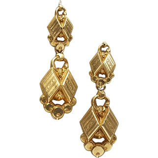 Antique French Earrings 18 Karat Gold