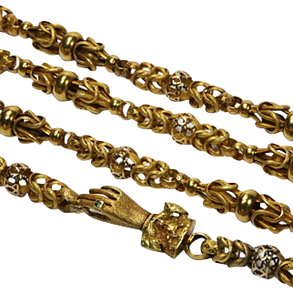 Georgian Gold Fancy Link Long Chain with Hand Clasp