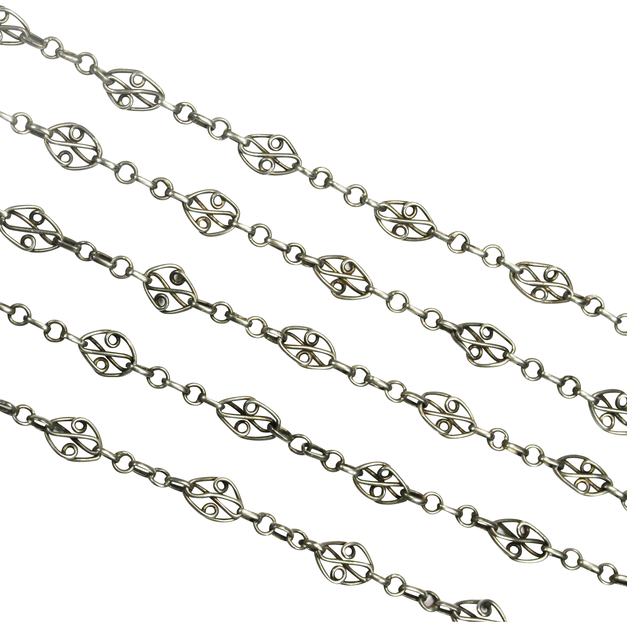 Antique French Silver Long Fancy Chain
