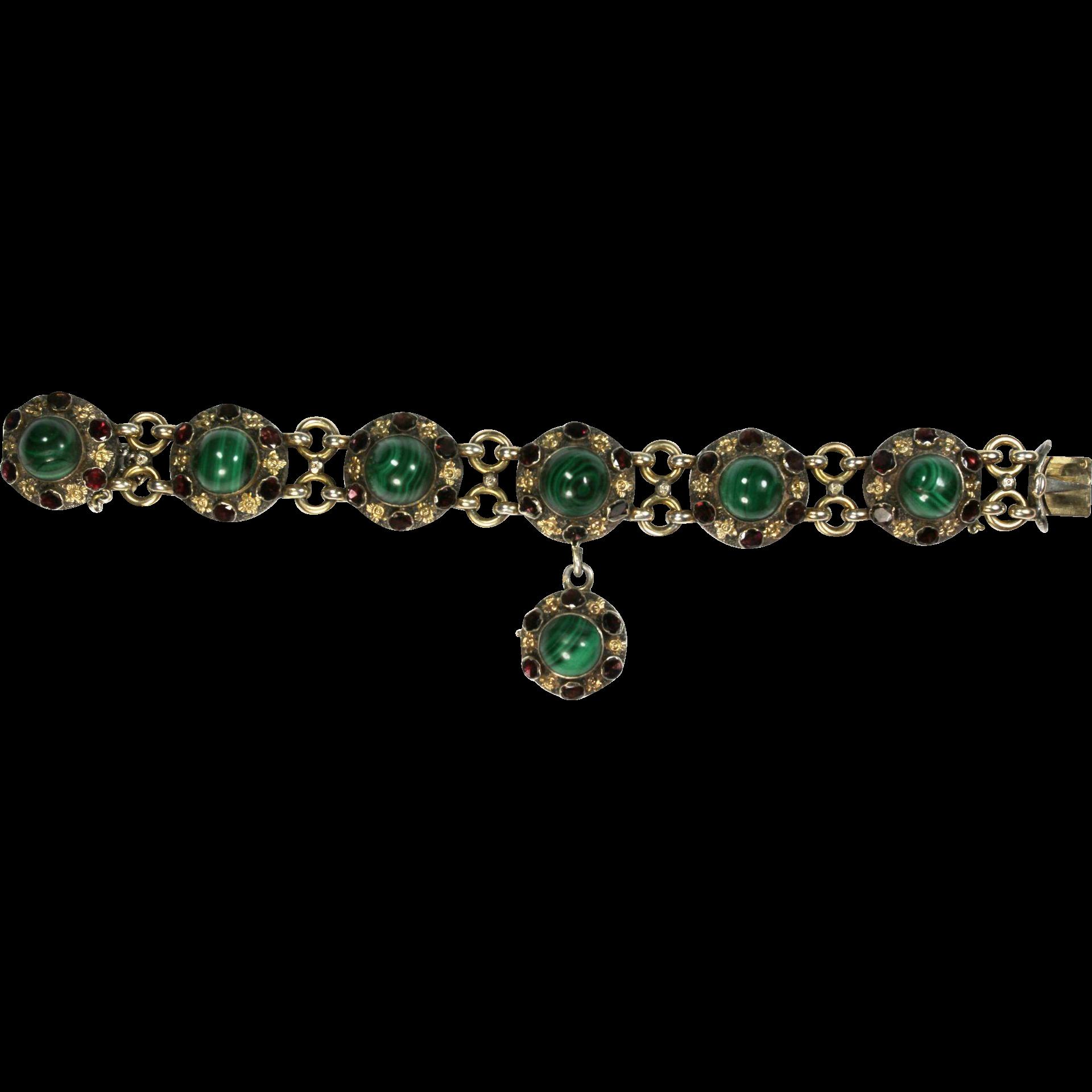 Fine Antique French Malachite Garnet Silver Bracelet