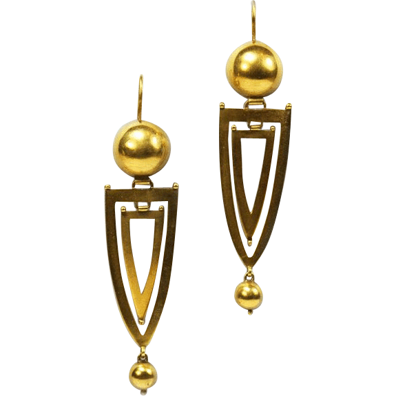 Antique Gold  Long Elegant Victorian Earrings