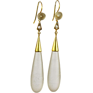 Antique Long Chalcedony Gold Earrings