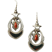 Antique Scottish Agate Silver Earrings