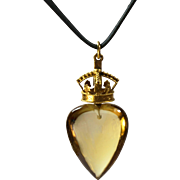 Antique Gold Scottish Citrine Heart Mary Queen of Scots