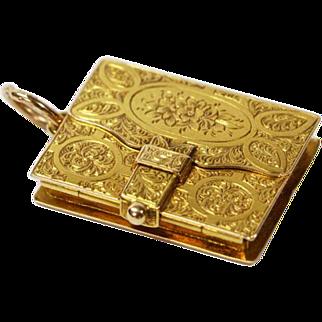 Antique Engraved Book Locket 15 Karat Gold