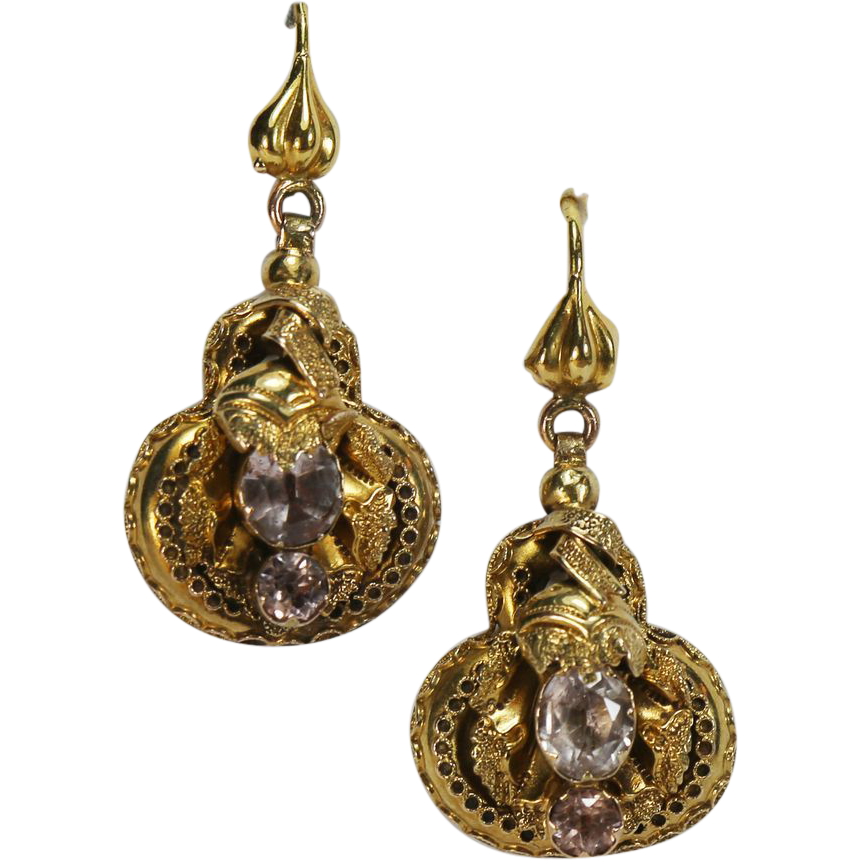 Fine Antique Victorian Gold Amethyst Earrings From