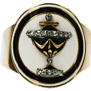Remarkable Georgian Diamond Enamel Urn Ring Dated 1797