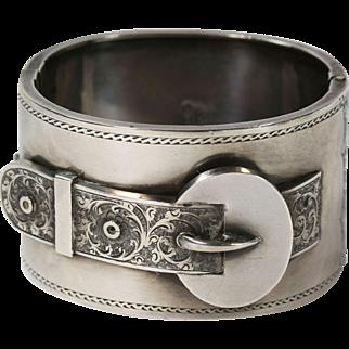 Antique Victorian Wide Silver  Engraved Buckle Bangle Bracelet