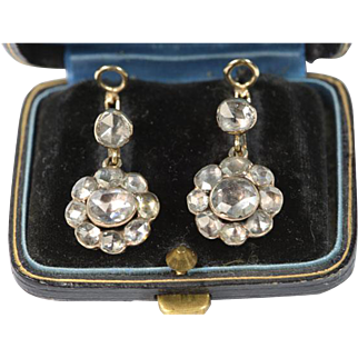 Antique French Diamond Earrings 19th Century