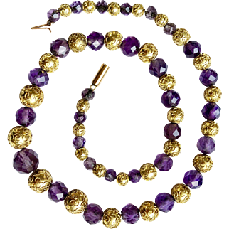 Antique Gold Etruscan Revival Amethyst Bead Necklace