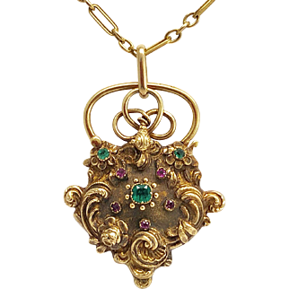 Antique Gold Emerald Ruby Georgian Padlock