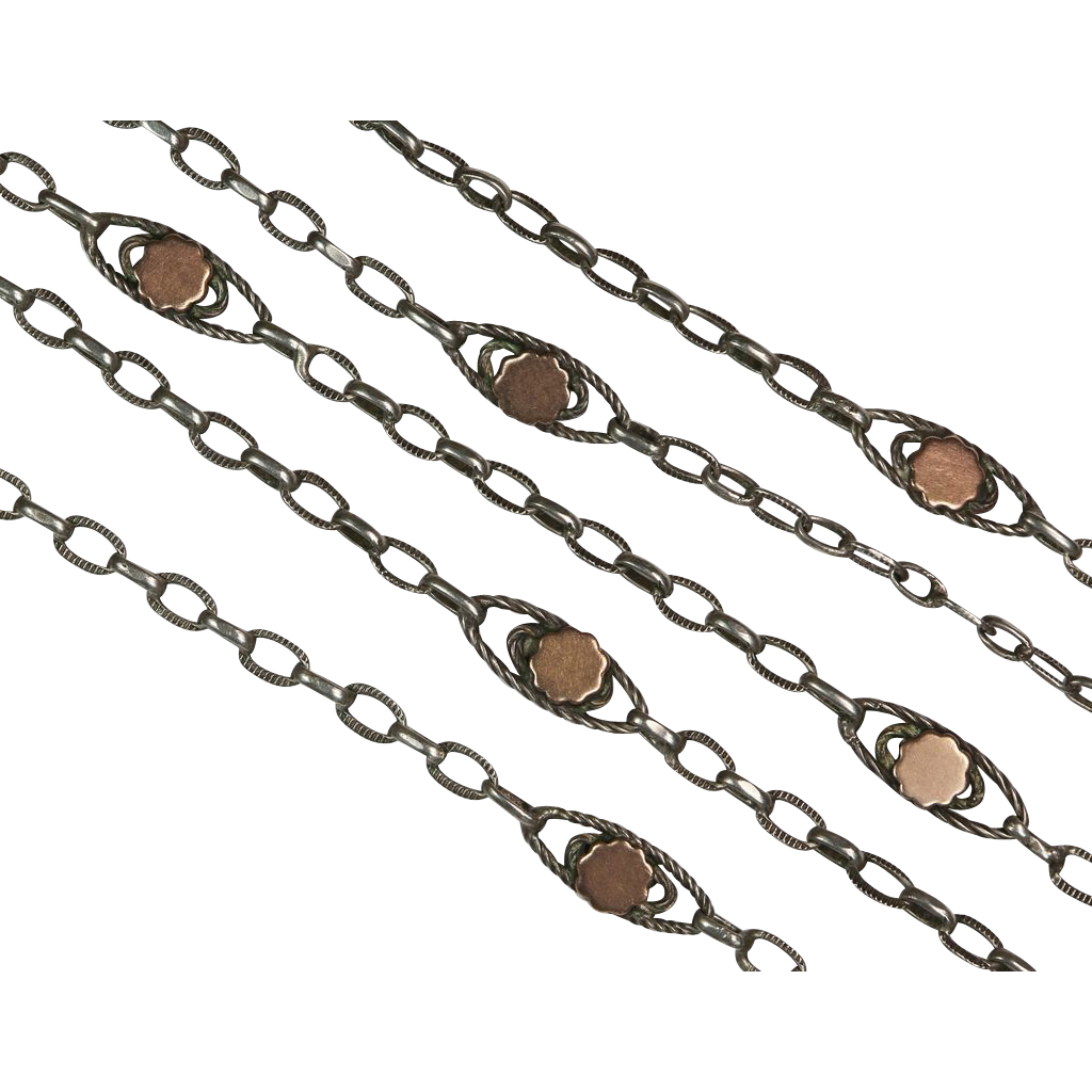 Beautiful Antique French Silver and Vermeil Long Chain