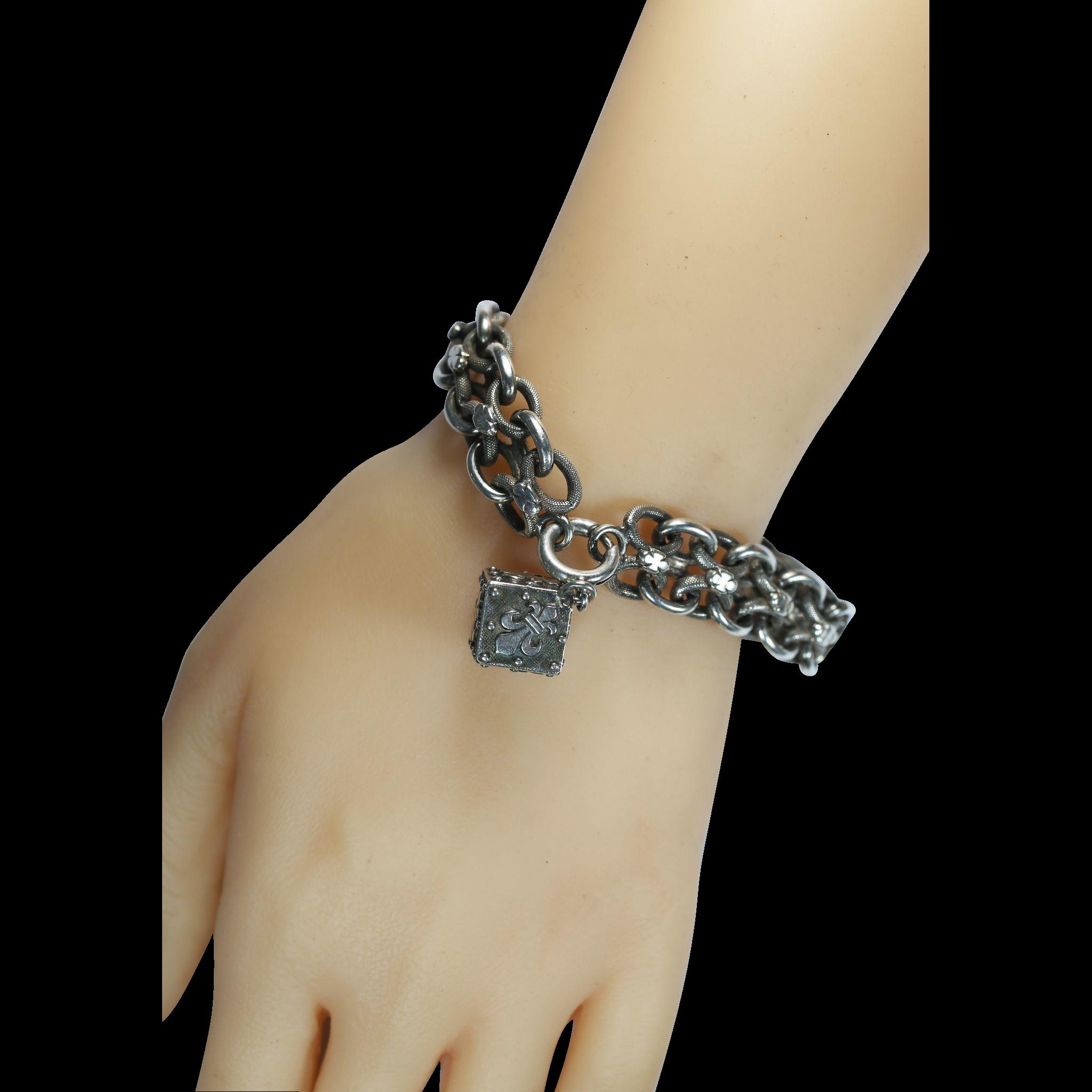 Antique French Silver Charm Bracelet with Fleur De Lys