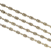 Intricate Antique French 18 Karat Gold Long Chain