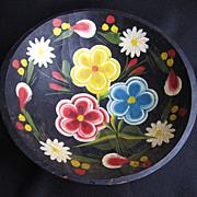 "Vintage Mexican Folk Art Batea Floral Tole Wood Bowl 9.5"""