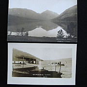 2 Vintage Real Photo Postcards of Wallowa Lake, Joseph, Oregon