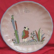 Tlaquepaque Pottery Plate from Jalisco State Mexico 1940s