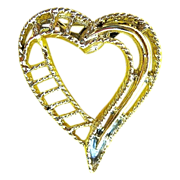 Vintage Gerry's Costume Jewelry Gold Tone Heart Brooch