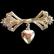 Vintage Lillian Vernon Gold Tone Bow & Locket Brooch Pin