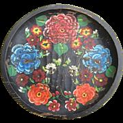"""Rustic Mexican Folk Art Batea Floral Tole Wood Tray Platter 14"""""""