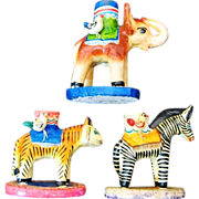 Mexican Pottery Tree Of Life Style Circus Tiger Elephant Zebra Candle Holders