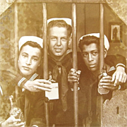1940s Real Photo Postcard Sailor & Pals in Tijuana Mexico Jail