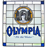 1989 Olympia Beer Vintage Stained Glass Pabst Window Sign