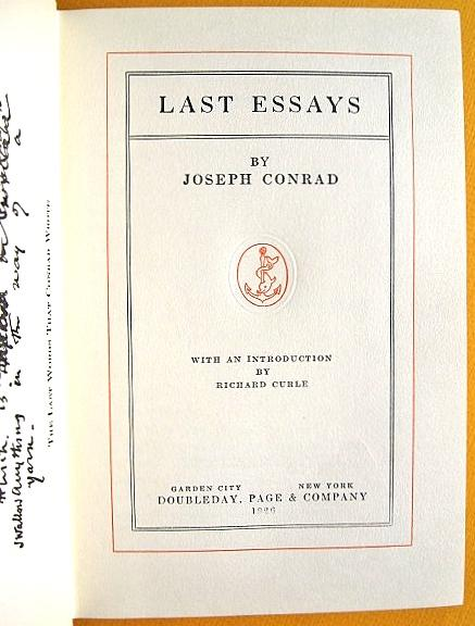 joseph conrad essays Last essays harold ray stevens and j h stape, eds the cambridge edition of  the works of joseph conrad, j h stape and allan h simmons, general eds.