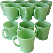 11 Fire-King Green Jade-ite / Jadeite Coffee Mugs D-Handle c. 1950 - Red Tag Sale Item