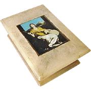 Antique Carved Alabaster Bible or Crucifix Box with St. Agnes & Lamb