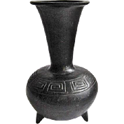 Large Black Pottery Footed Vase Aztec Design from Oaxaca, Mexico