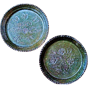 2 Rare Rustic Small Green Pottery Plates from Atzompa in Oaxaca, Mexico