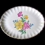 Nasco Golden Floral Oval Platter Made in USA 22 KT Gold Trim