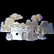 JJ Jonette Jewelry Co. Silver Tone Pewter Southwest Hacienda Brooch