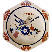Large Tonala Mexico Pottery Charger Plate Wall Decor Bird & Flowers